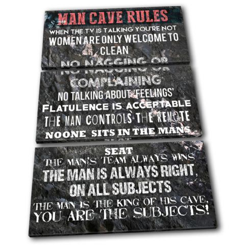 Man Cave House Rules Typography - 13-2373(00B)-TR32-PO